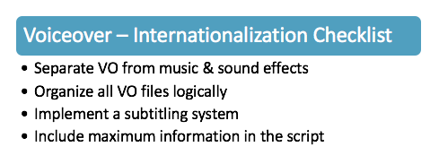 Video Game Internationalization - Voiceover Assets Checklist